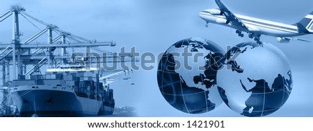 Freight business header- can be used in web design ***Note i am copyright owner of all elements used in the montage ***** - stock photo