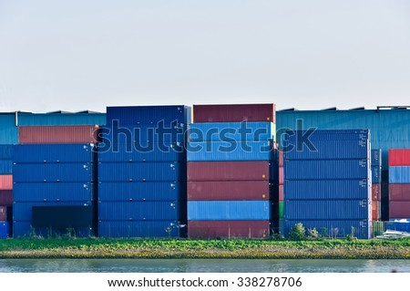 freight containers in sea cargo port of Rotterdam - stock photo