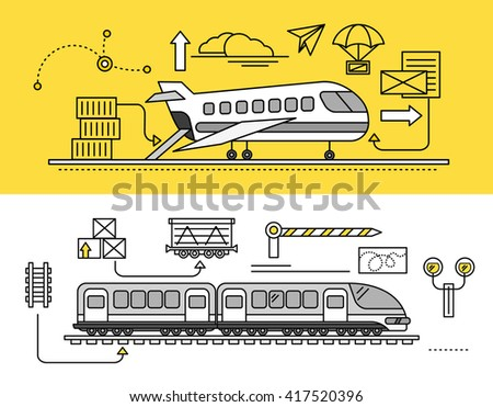 Freight Forwarding by air and rail by train. Transport delivery, shipping import industry, distribution and logistic, export railway transportation. Set of thin, lines, outline flat icons - stock photo