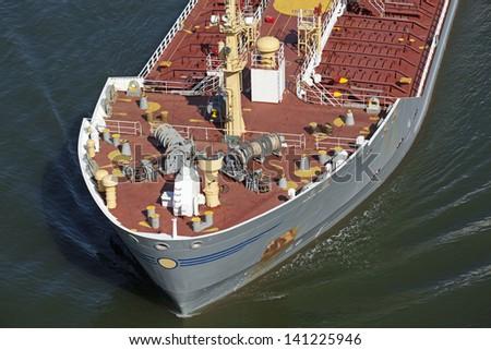 Freight ship on Kiel Canal, Germany - stock photo