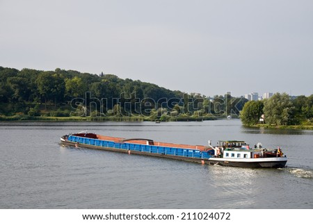 freight ship on the water in Potsdam, Germany