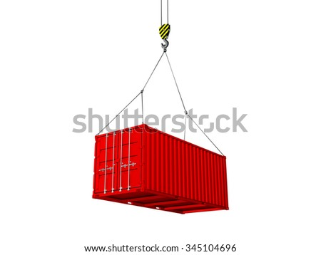 Freight shipping container hanging on crane hook isolated on a white background