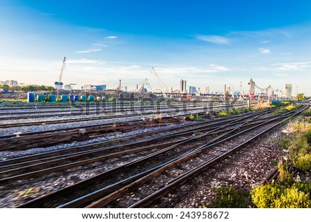 Freight Station with trains at sunrise, Blue sky with twilight - stock photo