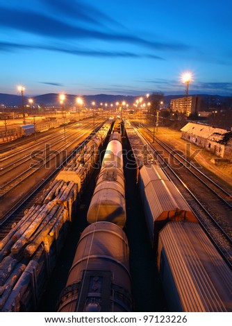 Freight Station with trains - Cargo transportation