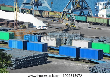 Freight train, container and metal in port