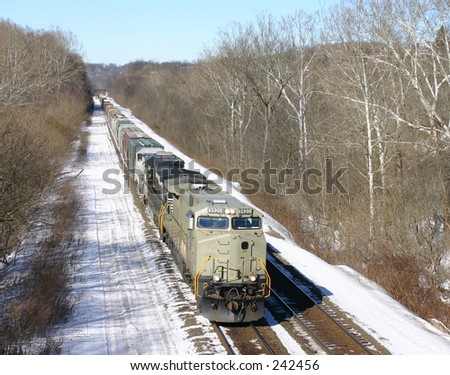 Freight train in the snow.