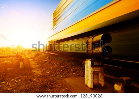 Freight train motion blur - stock photo
