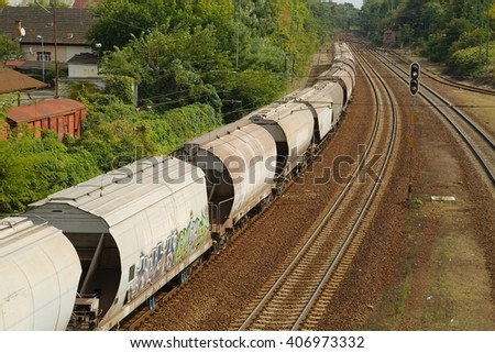 Freight train passing by with blur - stock photo