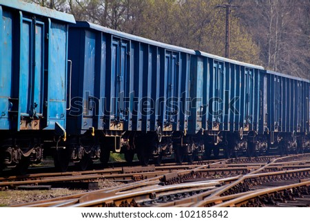 Freight train shunting on the station - stock photo