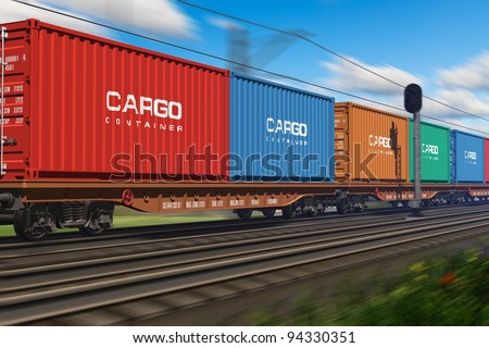 Freight train with cargo containers passing by - stock photo