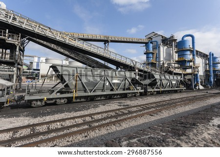 FREIGHT TRAIN WITH COAL IN AN INDUSTRY - stock photo