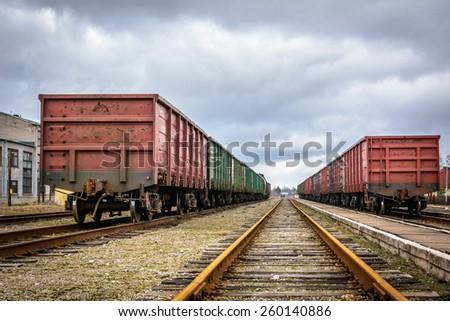 Freight trains - stock photo