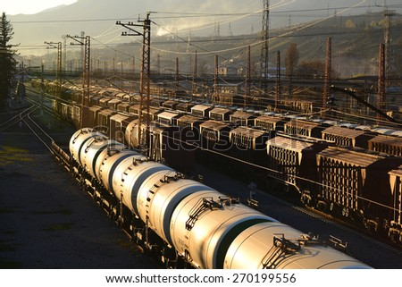 Freight trains - stock photo