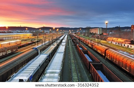 Freight trains - Cargo transportation - stock photo