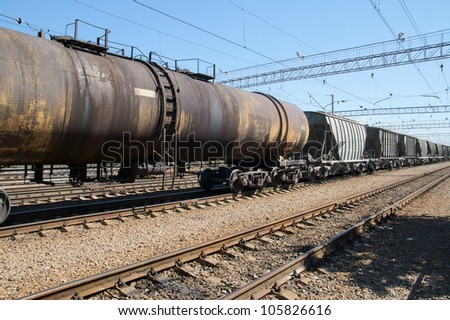 Freight trains close up