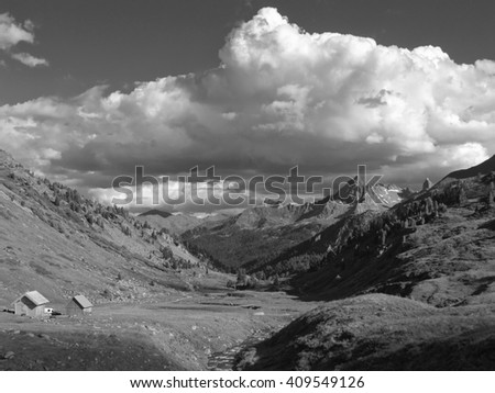 French Alps in the massif of Cerces near the Mont Thabor in black and white