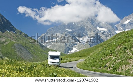 French Alps, landscape with motor home, RV. France.