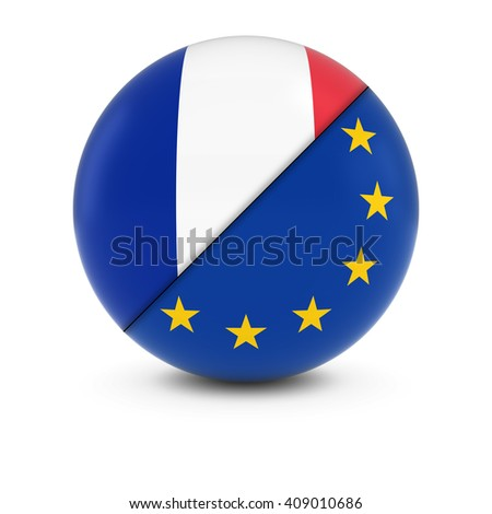 French and European Flag Ball - Split Flags of France and the EU - stock photo