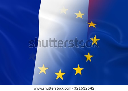 French and European Relations Concept Image - Flags of France and the European Union Fading Together - stock photo