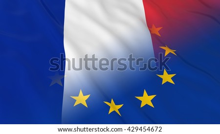 French and European Union Relations Concept - Merged Flags of France and the EU 3D Illustration - stock photo