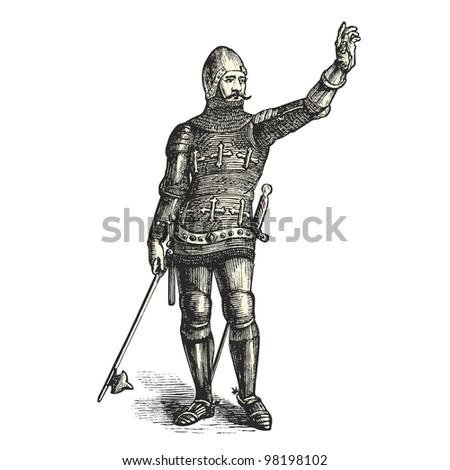 "French armored man in1370  - vintage engraved illustration - ""Dictionnaire encyclop�©dique universel illustr�©"" By Jules Trousset - 1891 Paris - stock photo"