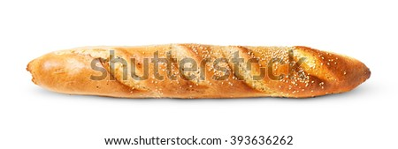 French baguette horizontally isolated on white background - stock photo