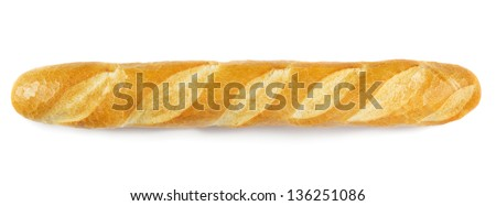 French baguette isolated on white - stock photo