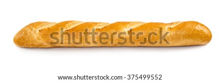 French baguette isolated on white background - stock photo