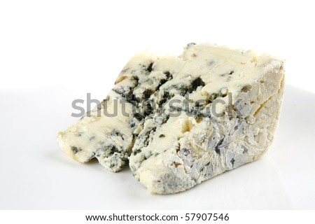 french blue soft cheese on white dish - stock photo