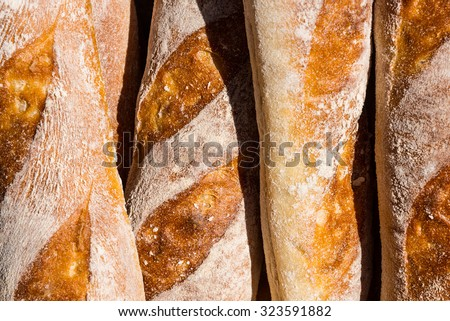 French bread from a bakery in detail. - stock photo