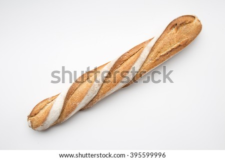 French bread in white background - stock photo
