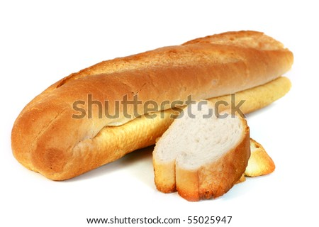 French Bread isolated with white background - stock photo