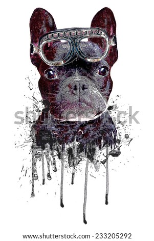 French Bulldog/T-shirt Graphics/Cartoon French Bulldog/French Bulldog puppy sits on a white background/textile graphic/french bulldog illustration/french bulldog graphic/french bulldog poster - stock photo