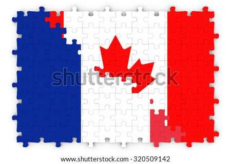 French Canadian Concept Image - Flags of France and Canada Jigsaw Puzzle - stock photo