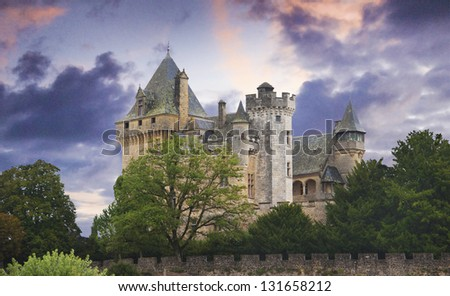 French castle in the Dordogne region of France