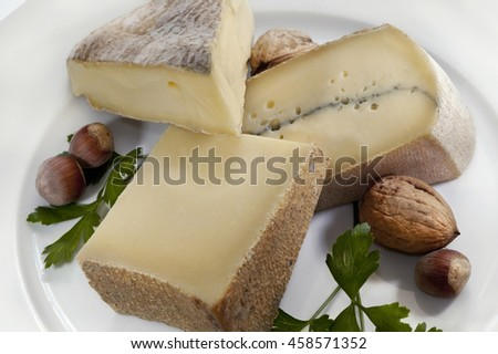 French cheese, parsley and nuts on a plate - stock photo