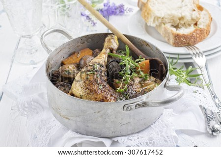 french chicken in red wine sauce - coq au vin - stock photo