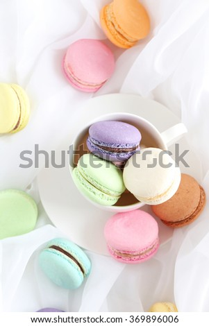 French colorful and tasty macarons, close up