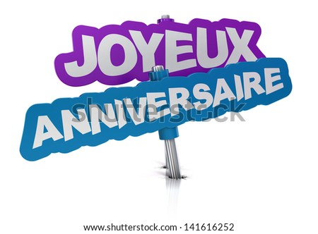 """French concept. 3D render. Text """"Joyeux anniversaire"""" written on a tag over white background - stock photo"""