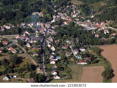 french country village aerial view - stock photo