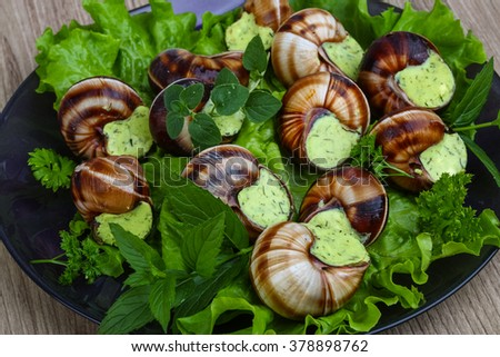 French cuisine - Escargot with butter, parsley and salat leaves