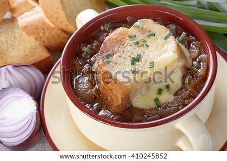 French cuisine. Onion soup served in a tureen