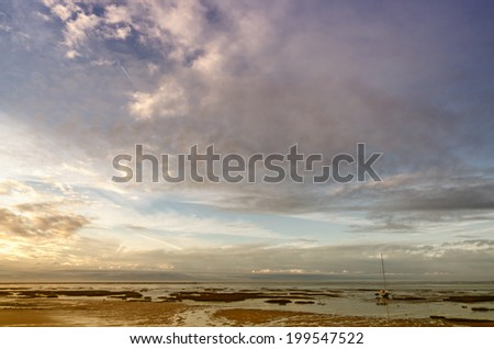 French destination Arcachon Bay and low tide - stock photo