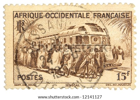 French East Africa postage stamp on white background