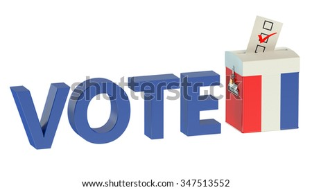 French election ballot box for collecting votes  isolated on white background