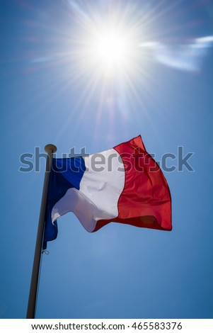 French flag and sunshine
