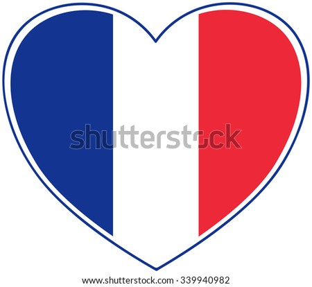 French Flag Colors on White - Solidarity with France Concept
