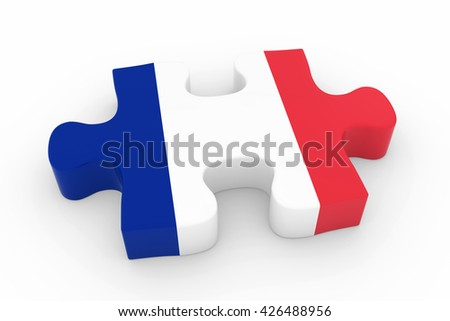 French Flag Puzzle Piece - Flag of France Jigsaw Piece 3D Illustration - stock photo