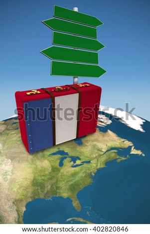 French flag suitcase against blue sky - stock photo