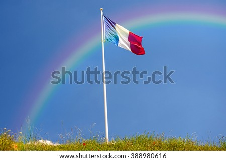 French flag with rainbow